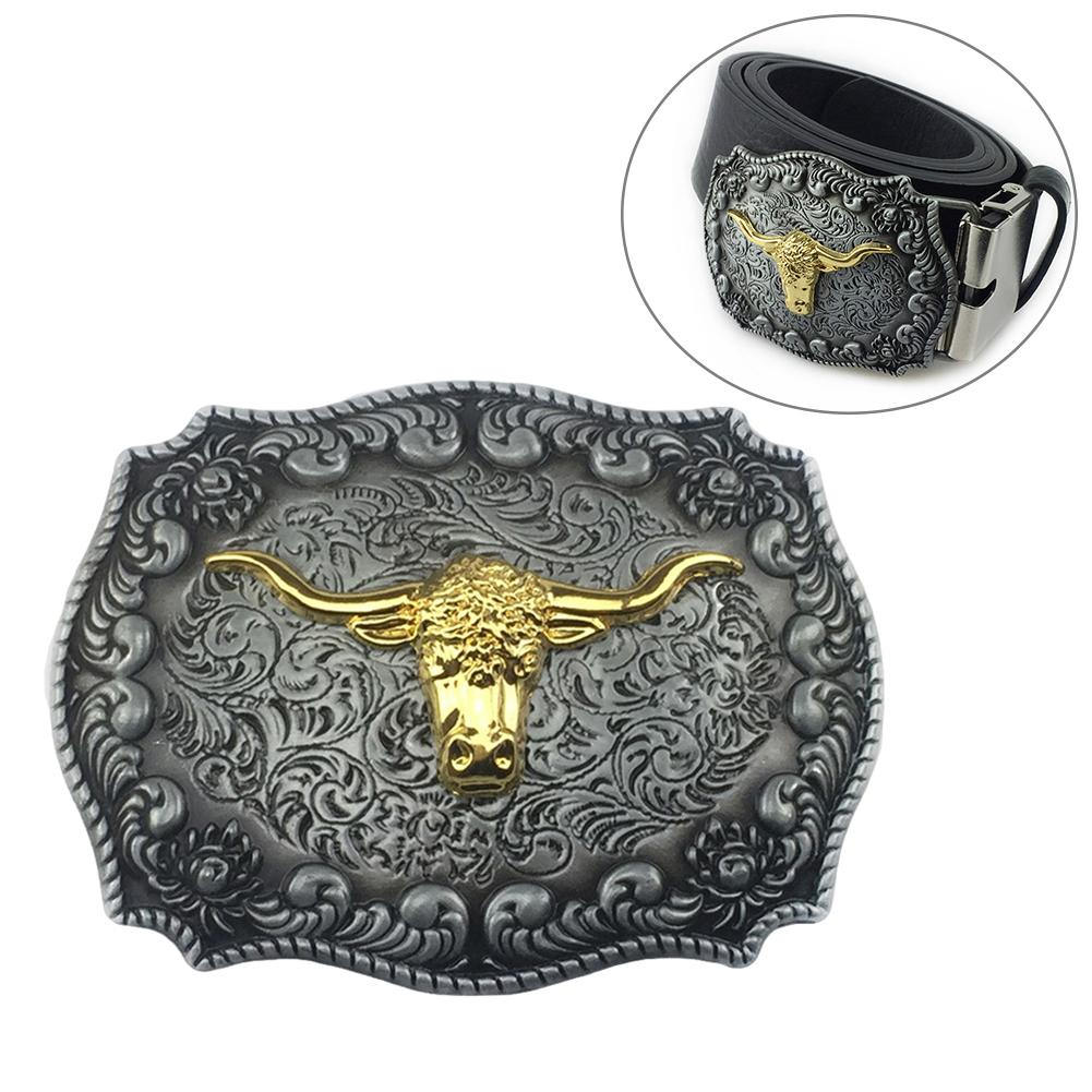 Vintage Western Men Belt Cowboy Golden Long Horn Bull Head Floral Zinc Alloy Belt Buckle Ceinture Femme
