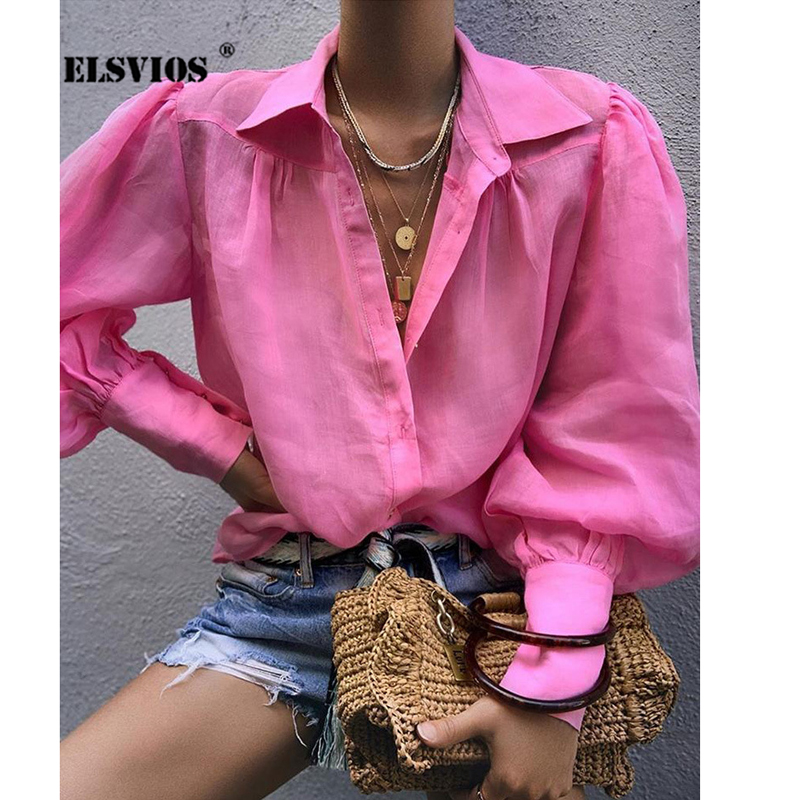 ELSVIOS Autumn Lantern Long Sleeve Womens Tops and   Blouses   Sexy Notched Button Elegant Office Ladies   Blouse   Solid Loose   Shirt   XL