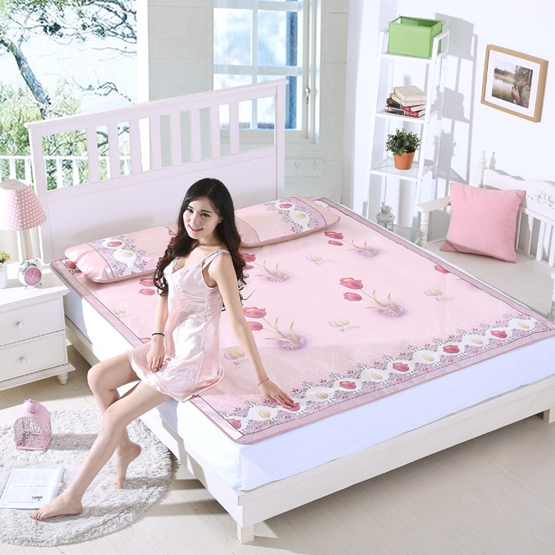 Summer Pink Printed Ice Silk Mat Sets Soft Comfortable Viscose Fiber Foldable Cool Mat Pillowcase 3pcs Fashion Simple Style