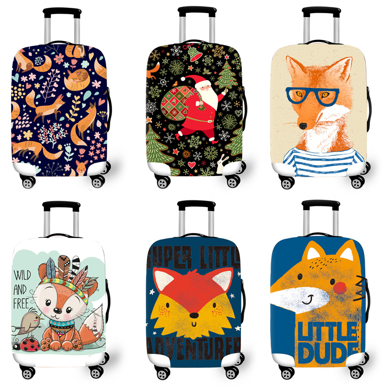 Protetora para Cases do Trole Acessórios de Viagem Bagagem Elástica Case Capa Mala Protetora Covers 3d Padrão Raposa T6212