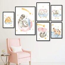 Cartoon Giraffe Elephant Panda Sloth Koala Nordic Posters And Prints Wall Art Canvas Painting Animal Pictures For Kids Room