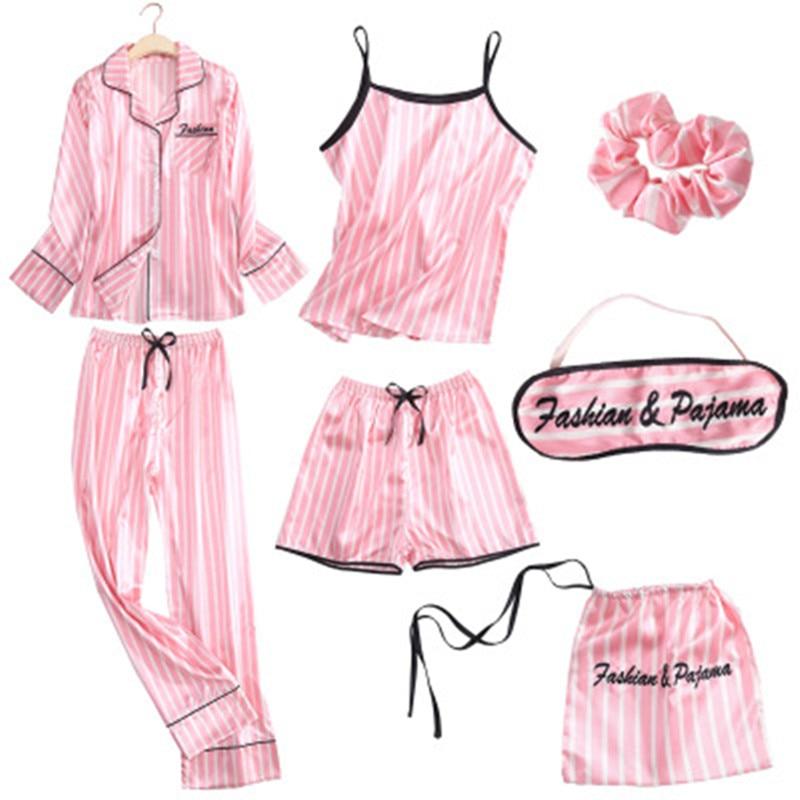 Striped Pajamas Sleepwear Robe Lingerie Satin Pjs Silk Pink Femme 7pieces-Stitch Women