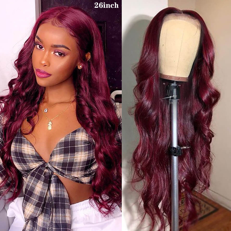 99J/Burgundy 13x4 Lace Front Human Hair Wigs Ombre Blonde Brazilian Body Wave Lace Wigs Pre Plucked 150% Density Remy Wigs KEMY