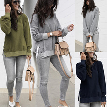 2019 Thick Women Hoodies Autumn Winter Fashion Solid Knitted O Neck Buttons Female Casual Loose Open Fork Splicing Pullover Tops