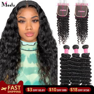 Meetu Deep Wave Bundles with Closure Brazilian Hair Weave 5x5 Closure with Bundles 100% Human Hair Bundles with Closure Non Remy