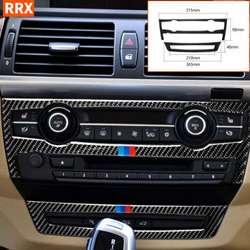 For BMW X5 E70 2008-2013 X6 E71 2009-2014 Carbon Fiber CD Air Conditioning Control Button Frame Stickers Tuning Car Accessories image