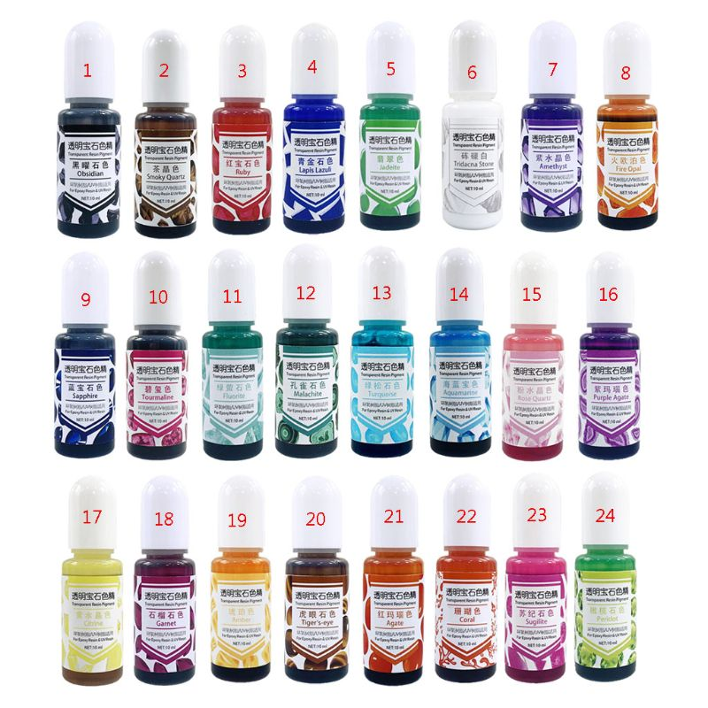 24 Color Epoxy UV Resin Gem Pigment Liquid Resin Dye Transparent Colorant UV Resin Coloring DIY Resin Art Jewely Making Tool