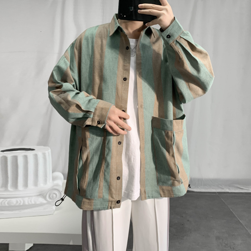 Осенняя полосатая рубашка, мужская мода, контрастный цвет, Повседневная рубашка, Мужская одежда, рубашка, мужские свободные рубашки с