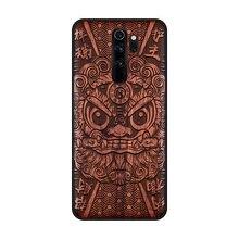 Di legno fatti a mano cassa del telefono Per Xiaomi Redmi Nota 8 Pro copertura reale Naturale di legno di legno Cinese calligrafia s caratteri Ebano copertura