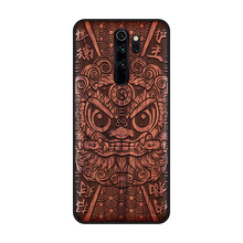 Handmade wood phone case For Xiaomi Redmi Note 8 Pro cover Natural real wood Chinese calligraphy s characters Ebony cover