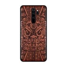 Étui de téléphone pour xiaomi en bois fait main Redmi Note 8 Pro couverture en bois véritable naturel calligraphie chinoise s caractères couverture en ébène