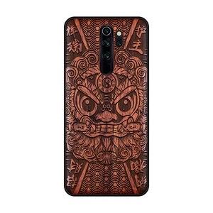 Image 1 - Étui de téléphone pour xiaomi en bois fait main Redmi Note 8 Pro couverture en bois véritable naturel calligraphie chinoise s caractères couverture en ébène