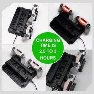 Image 5 - PS4ため/PS4スリム/PS4プロ垂直スタンド冷却ファンデュアルコントローラ充電器充電ソニープレイステーション4クーラー