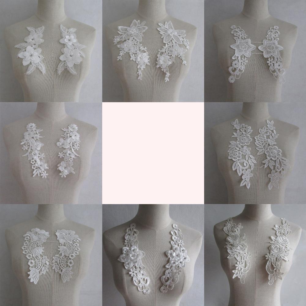 """Pair 9/"""" White Bridal Luxury Venise Heavy Guipure Lace Dress APPLIQUE collar trim"""