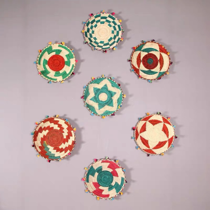 Handmade Wall Plates Hanging Decoration Fruit Plate Straw Art