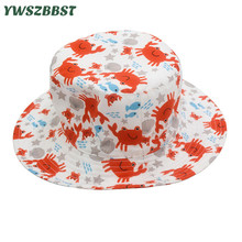 Fashion Summer Baby Hats for Girls Kids Girls Sun Hat Cotton Baby Hat with crab print Spring Autumn Infant Hat Toddler Child Cap girls baby girl palm print swimsuit with hat