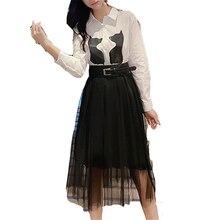 Autumn Winter dress OLN Korean vestidos new arrival wholesale Splicing mesh womens waist slimming knee