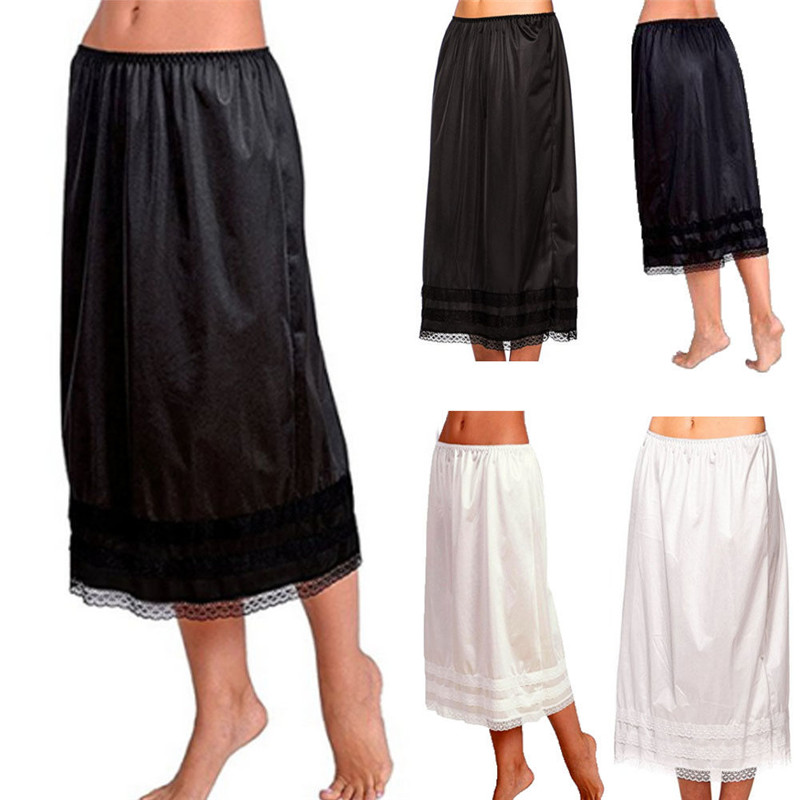 Retro Women Long Solid Lace Half Slip Skirt Hem Elasitc Waist Underskirts Casual Black White Petticoat Plus Size Women Skirt