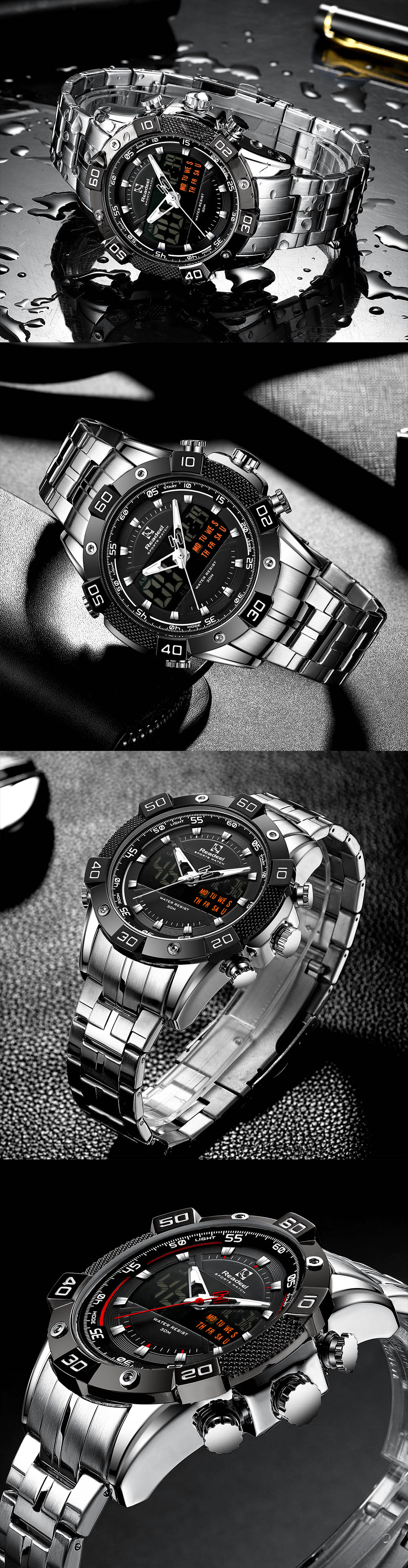 Hb6b73332ba1c4197a49692cb61f22302q 2020 Luxury Brand Waterproof Military Sport Watches Men Silver Steel Digital Quartz Analog Watch Clock Relogios Masculinos