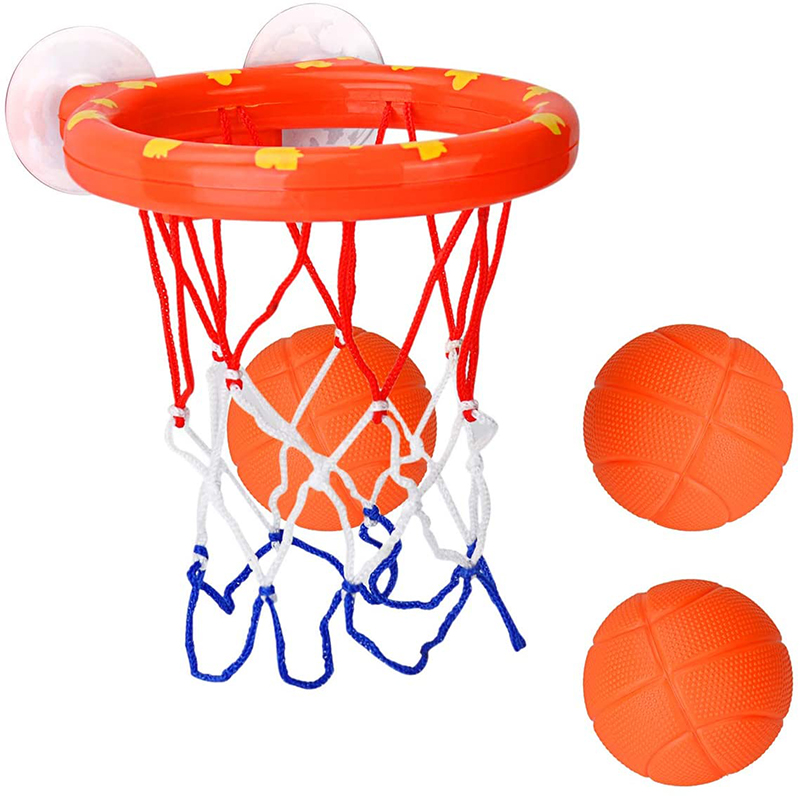 Toddler Bath Toys Kids Shooting Basket Bathtub Water Play Set for Baby Girl Boy with 3 Mini Plastic Basketballs Funny Shower