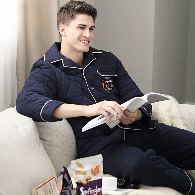 Winter thicken Men's Cotton Pajamas Letter Sleepwear cardigan man Pajama Sets Casual Sleep&Lounge Pyjamas Plus Size 3XL Pijama