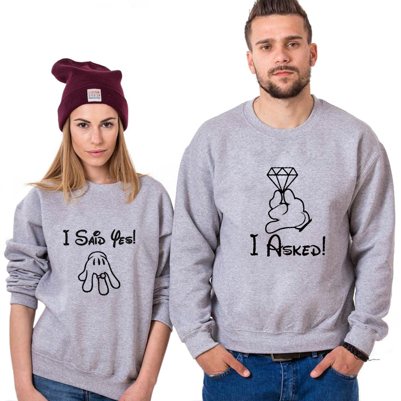 I Asked I Said Yes Couple Sweshirts Funny Marriage Proposal Long Sleeve Hoodie Unisex Fashion Casual Valentine Gift Top