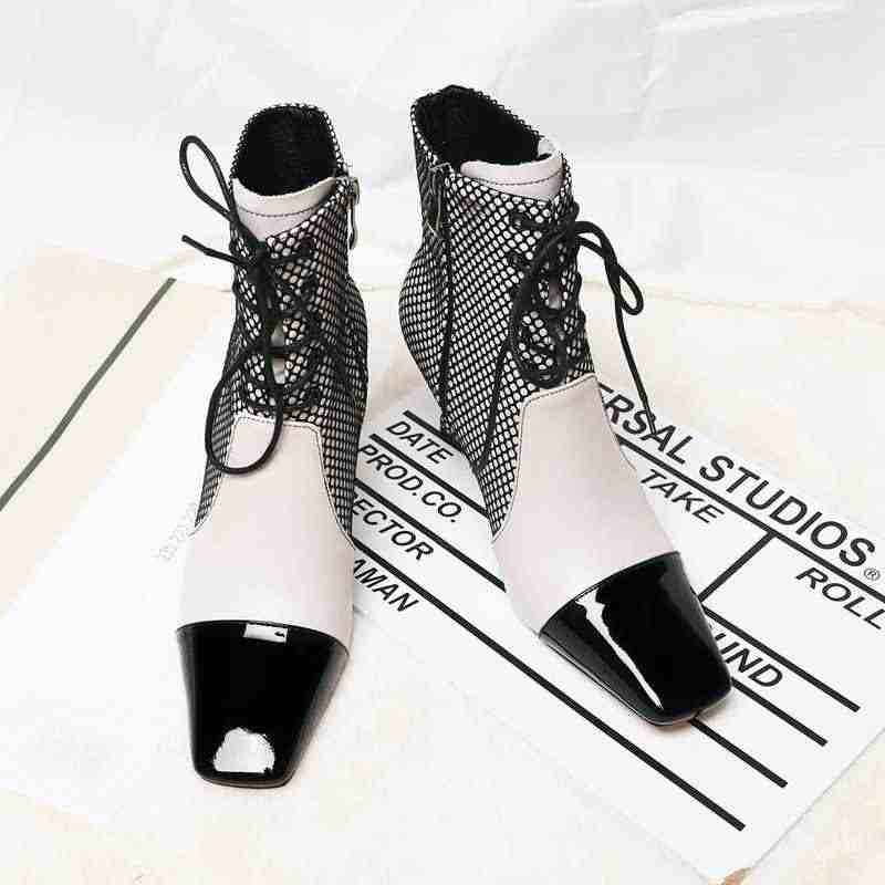 Krazing pot karışık renkler modern moda hakiki deri çizmeler kare ayak yüksek topuklu kış olgun kadın ayak bileği bağcığı botları L2f6