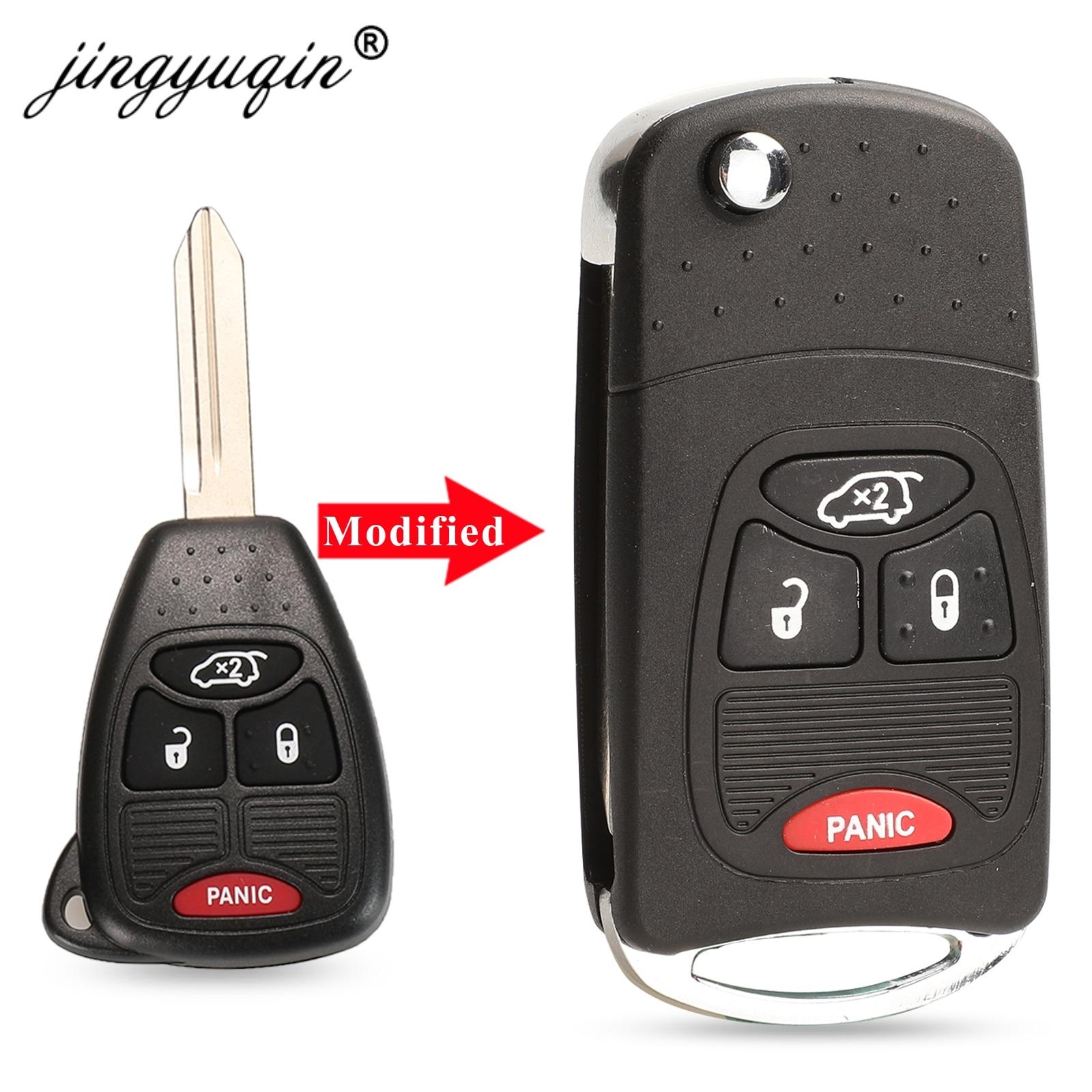 jingyuqin Remote 4 Button Folding Flip Key Shell For Chrysler Sebring For Dodge Avenger Nitro For Jeep Fob Car Case Cover