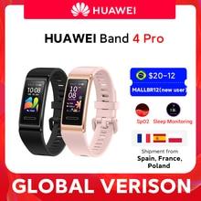 Huawei-Smartband 4 Pro, banda inteligente de oxígeno en sangre, pantalla AMOLED de 0,95 pulgadas, monitorización del ritmo cardíaco y del sueño