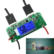A7 -- placa móvel do pwb do carregador do banco de potência dupla usb 5 v 2.1a 1a impulso step up módulo de potência display led tela 18650 bateria 65*2(China)