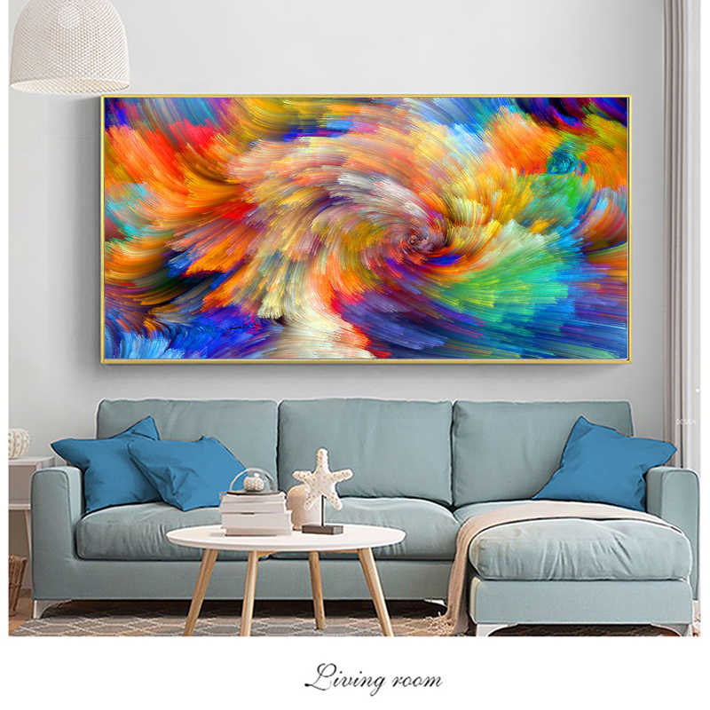SELFLESSLY Rainbow Color Splash Oil Painting on Canvas Wall Pictures for Living Room Posters and Prints Modern Art Decor Unframe