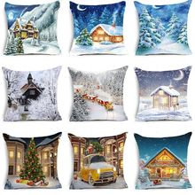 Pillow case 45*45CM Christmas Snow Lodge Series Pillowcase Holiday Home Decoration Christmas Gift Pillow Cushion Cover pillow cover christmas snow man home decoration