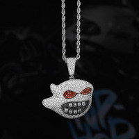 DNSCHIC Cartoon Character Ghost Personality Pendant Full Zircon Hip Hop Pendant with Necklace Jewelry Factory