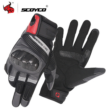 SCOYCO Motorcycle Gloves Summer Breathable Moto Gloves Carbon Fibre Leather Motocross Gloves Touch Function Guantes Moto Gloves фото