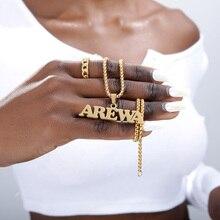 Jóias góticas nome personalizado colar de aço inoxidável pingente de ouro longo grânulo corrente personalizado placa de identificação colares