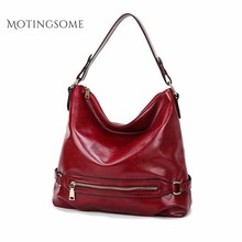 Women Tote Bag Top Quality Soft Oil Wax Natural Skin Leather Shoulder Shopper Bag Handbag Brand Design Fashion Bags Ladies 2020