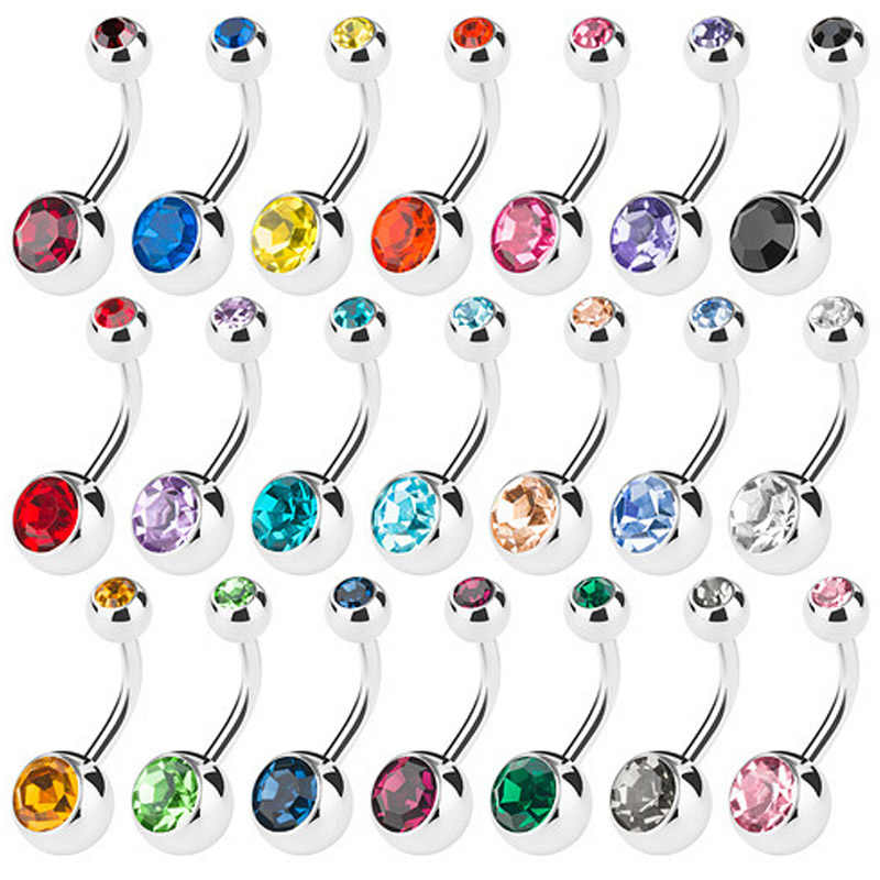 Piercing Navel Surgical Steel Single Crystal Rhinestone Belly Button Rings Piercing Ombligo Ball Nombril 10PCS Lot Set Gem Bar