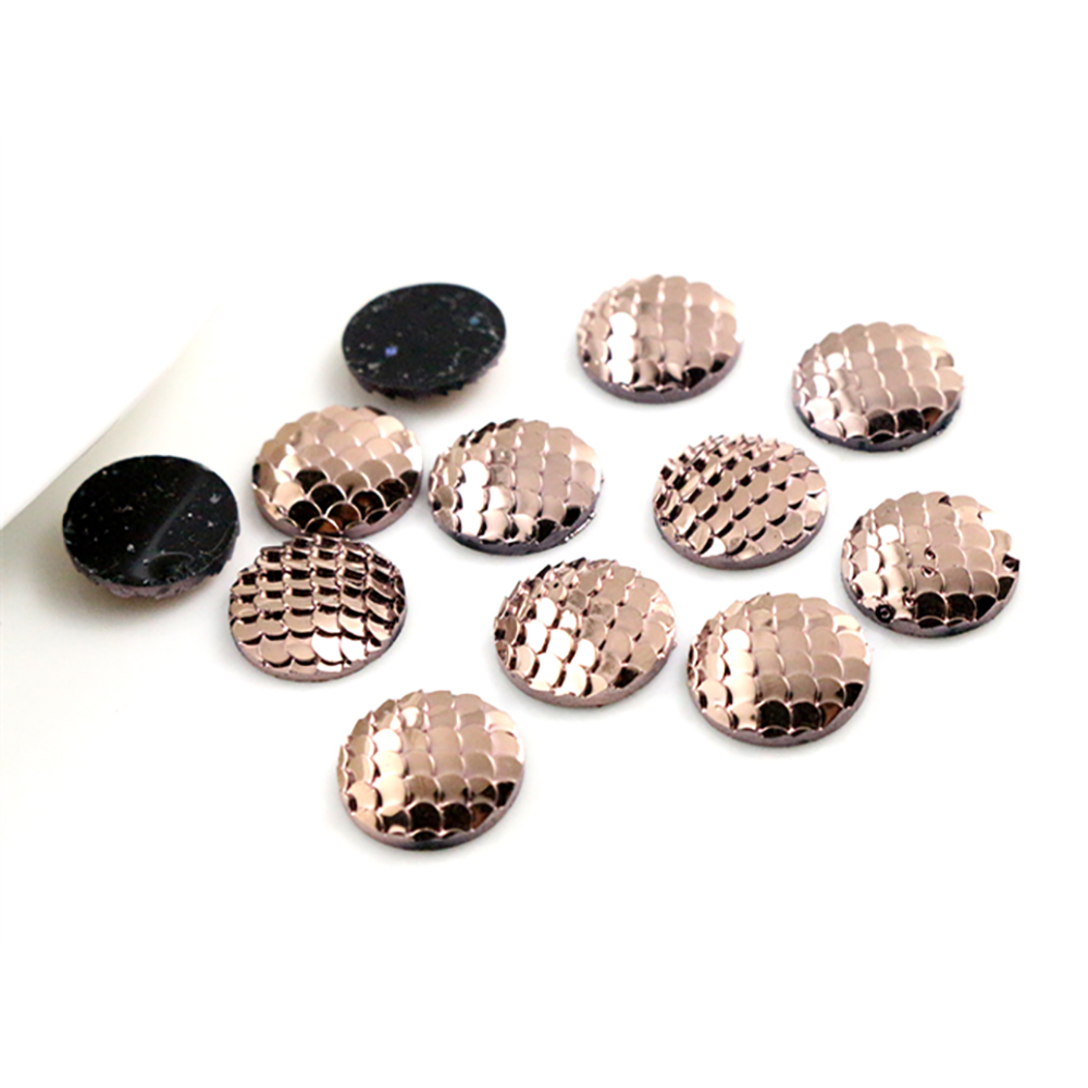 New Fashion 40pcs 12mm Rose Gold Color Plated  Fish Scale Style Flat Back Resin Cabochon For Bracelet Earrings Accessories H6-57