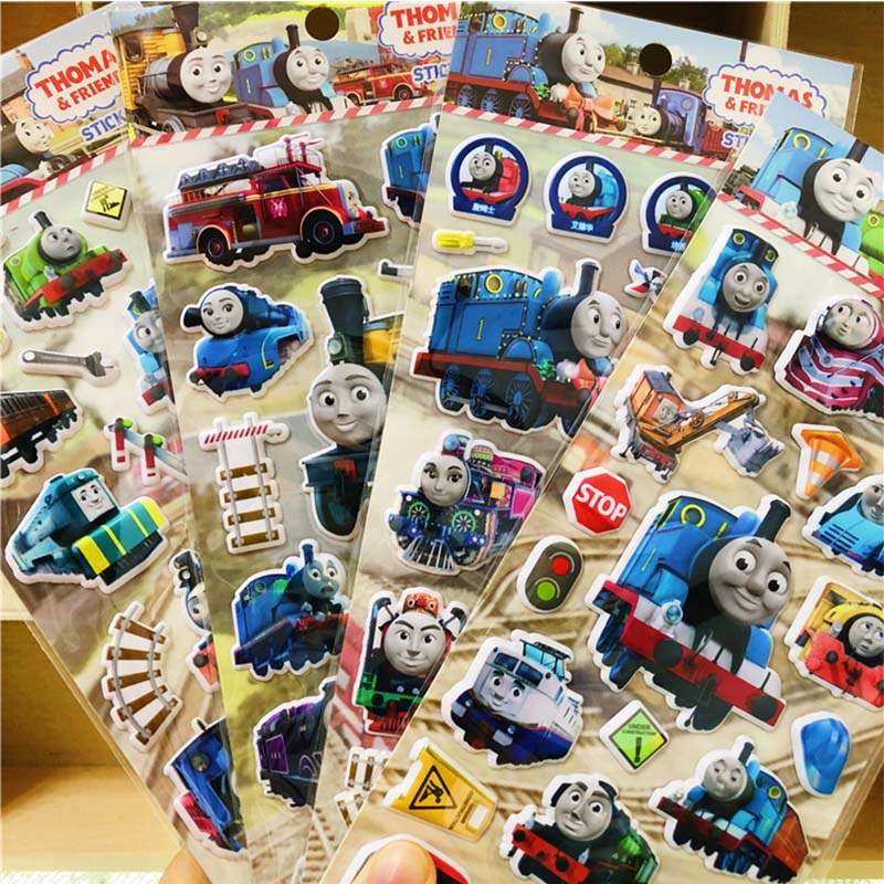 12pcs Thomas And Friends Toys Stickers 3D Cartoon Bubble  Thomas Train Stickers Scrapbooking For Kids Diary Notebook Sticker
