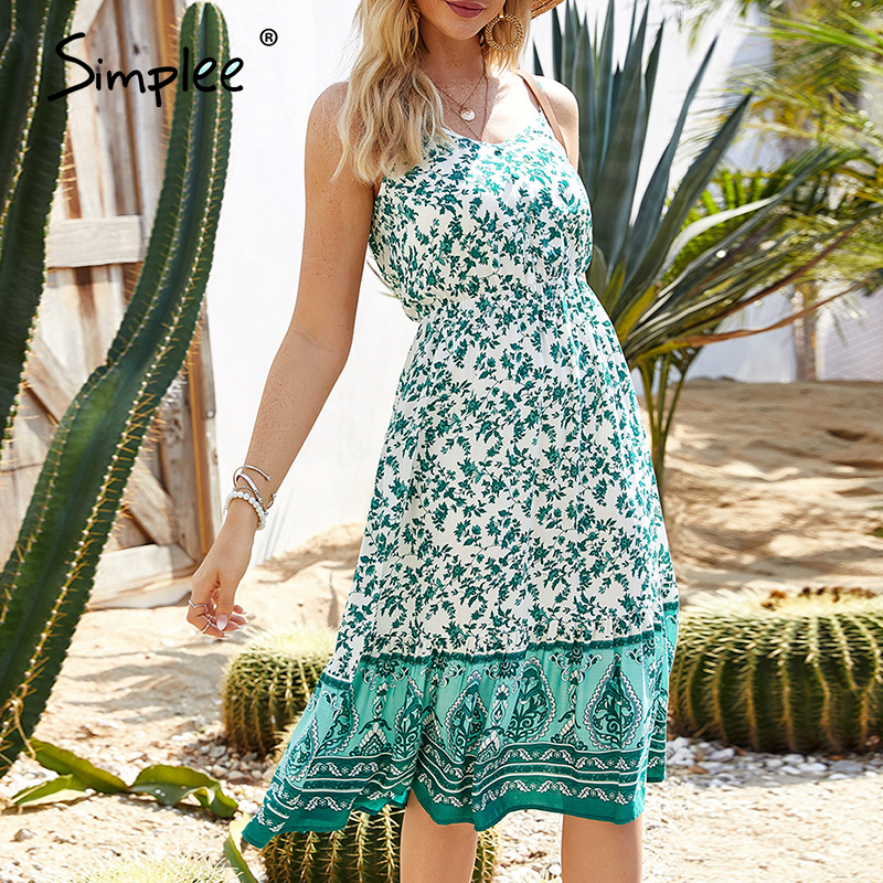 Simplee Sexy Sleeveless Floral Print Dress Ruffled Slim Fit High Waist Beach Summer Dress Ladies Casual Strap Buttons Boho Dress