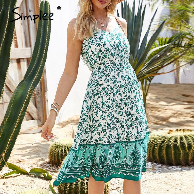 Simplee Sexy Sleeveless Floral Print Dress Ruffled Slim Fit High Waist Beach Summer Dress Ladies Casual Strap Buttons Boho Dress