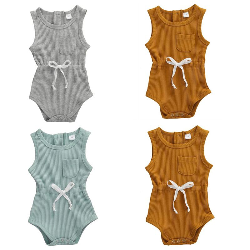 2020 Newborn Baby Boy Sleeveless Romper Toddler Infant Baby Girls Rib-knitted Romper Jumpsuit Newborn Cotton Clothes Outfits