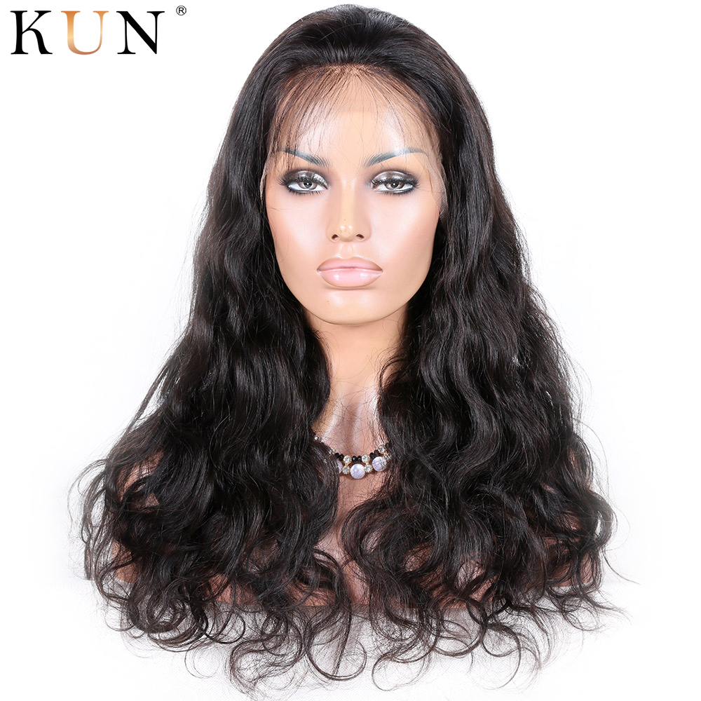 360 Lace Frontal Wig Body Wave Lace Front Human Hair Wigs 4.5 & 6 Inch Parting 360 Lace Wig Pre Plucked Remy 150 180 Density KUN