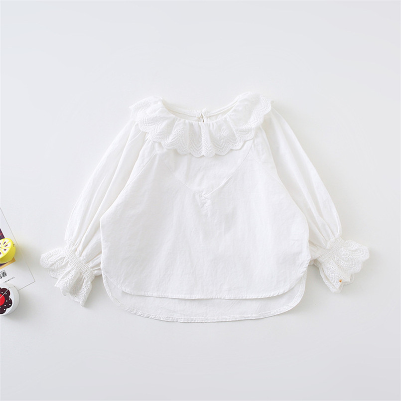 Autumn girls blouse ruffles lace collar infant baby blouse cotton long sleeve kids shirt for girls tops clothes children jackets