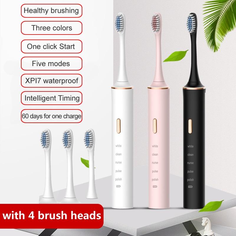 Gollinio – brosse à dents électrique sonique avec minuterie pour adulte, 5 modes, chargeur USB, têtes de rechange, ensemble GL17
