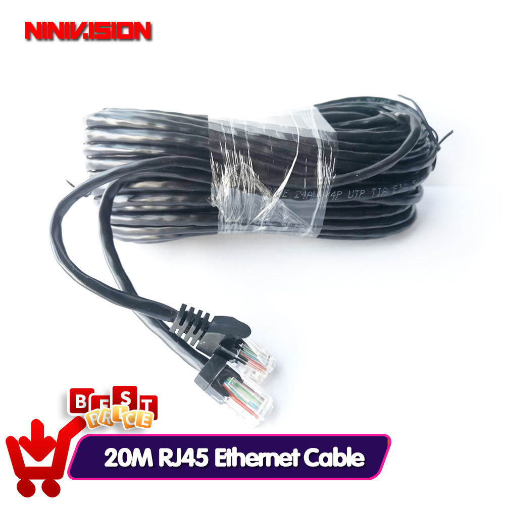 NIVISION 20M 65ft Cat5 Ethernet Network Cable RJ45 Patch Outdoor Waterproof LAN Cable Wires For CCTV POE IP Camera System