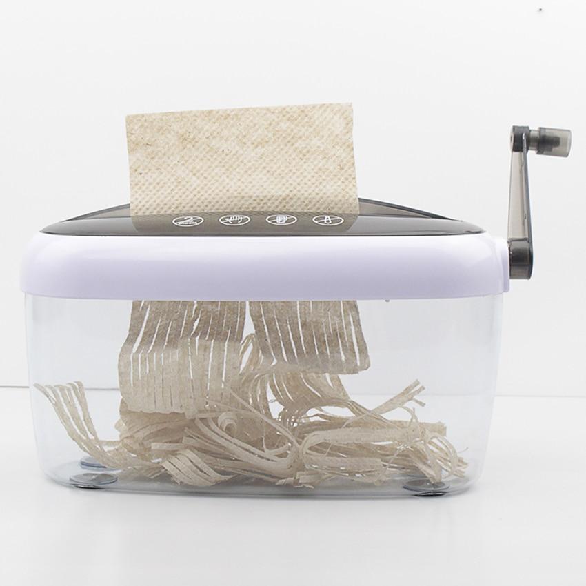 Mini Shredder Strip Cut Paper Shredder Hand Shredder with Clear Basket A4 Paper Documents Cutting Tool for Office Home Desktop