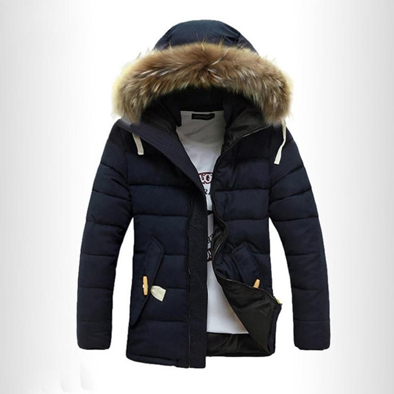 New Men's Parkas Winter Jackets Coats Overcoat Thick Mid-long Hats Fashion Casual Hombre Solid Warm Windproof Fur Collar MOOWNUC