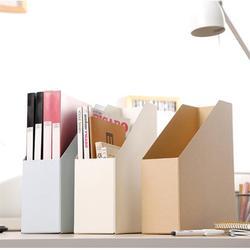 1 Pc Tijdschrift Bestand Houder Desktop Organizer Kraftpapier Bestand Houder Documenten Bestand Doos Kantoorbenodigdheden (Beige)