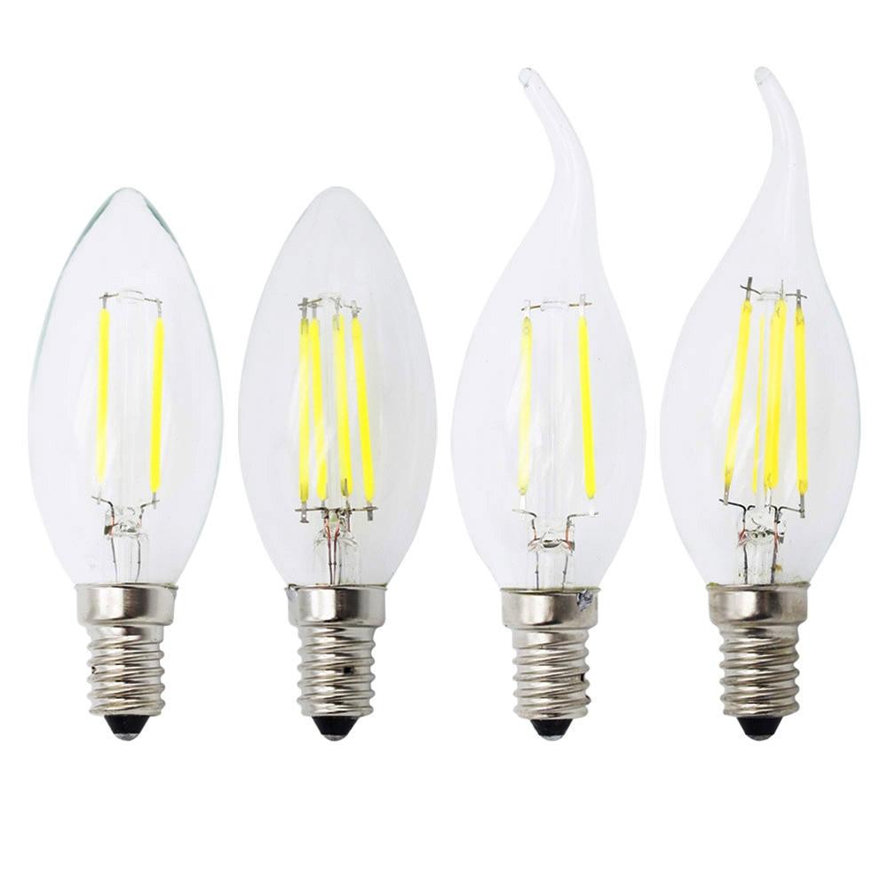 High Quality E14 4W 8W 12W 220V Retro Filament LED Bulb Lamp C35 C35L LED Candle Light Chandelier Light For Indoor Hom